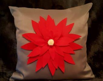 Designer, Luxury 3D Red Petal Decorative Faux Silk Cushion Cover