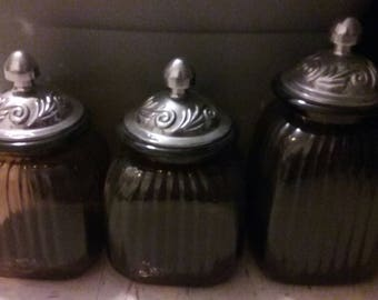 3 Glass Containers