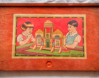 Game toy old french construction wood circa 1920 1930