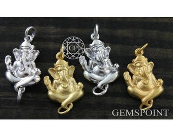 Sterling Silver or Vermeil Charm, Ganesh Charm/w Jump Ring on Both Side, Spiritual Charm, Silver Ganesh Charm, Ganesh Charm (2-49)