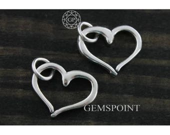 Sterling Silver or Vermeil Charm, Open Heart Charm, Open Heart Charm w/ Jump Ring, Heart Charm, Love Charm, Silver Heart Charm, (8-6)