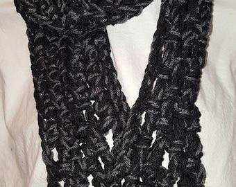 Dark, Warm, Unique, Handmade, Crocheted Scarf