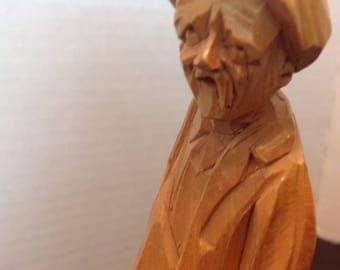 Paul Caron wood sculpture of an old man Folk Art sculpture