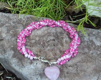 Pink Spiral Beaded Bracelet