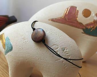 Adjustable twine bracelet wood bead