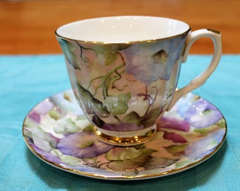 Mayfair English Bone China Duo, Morning Glory pattern