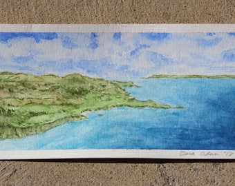 Ocean Landscape Watercolor