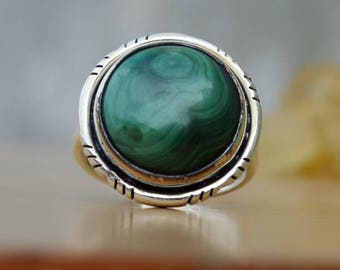Malachite Ring-Round Shape Ring-Genuine Gemstone Ring-925 Sterling Silver Designer Ring-Birthstone Ring-Natural jewelry-Unique Gift Jewelry