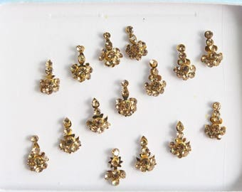 15 Tiny Gold Long Bindis Face Jewels,Wedding Bindis,Stone Bindis,Gold Bindis,Bindis,Bollywood Bindis, Long Bindis, Self Adhesive Stickers