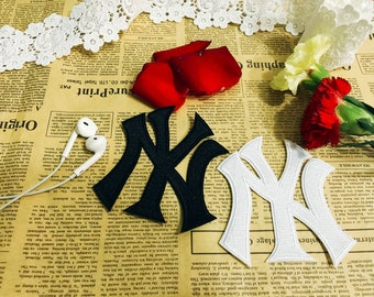 New York logo iron on patch,white black NY patch,embroidered patch,hat patch,jacket patch, DIY