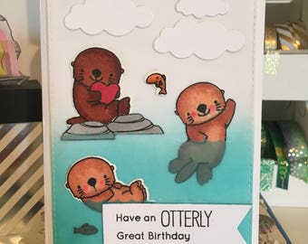 Birthday Card with Otters