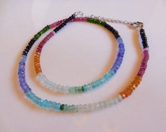 Multi Tanzanite, Apatite, Fire Opal, Chrome Diopside, Ruby and Black Spinel Rondelle Beaded Sterling Silver Necklace