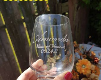 Custom Engraved Wedding Party Glasses (Stemless Wine & Whiskey Glasses)