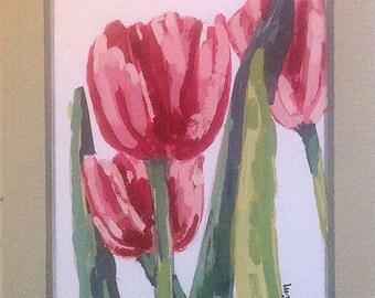 Tulip flowers Pink Blossoms, Linda Blondheim Art Garden Plants Garden Art