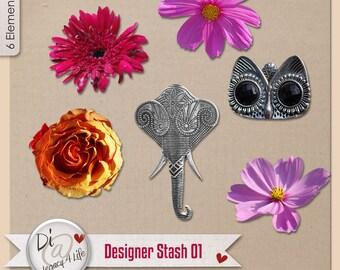 Digital Scrapbook | Clipart | Commercial Use , Designer Stash, PNG Elements, Digital Scrapbook Papers