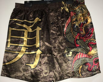Chinese Dragon Brown and Gold Satin Boxer Shorts Size XL