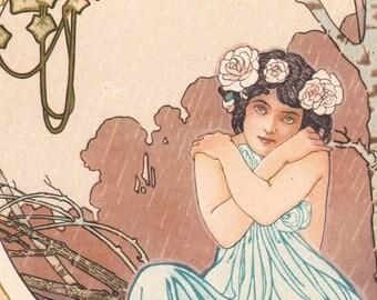 Stunning 1900 lithograph Pluviose art album of Armand Segaud decoration