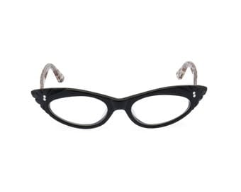1950s Rockabilly cat eye 'GINA' Black & Leopard. Reading strength or reglaze to your optical prescription