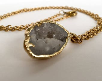 electroplated agate geode necklace, chunky, druzy, gemini, star sign