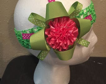 Green with pink HairBow/ headband
