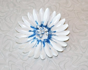Large Vintage Brooch in White With Blue Center