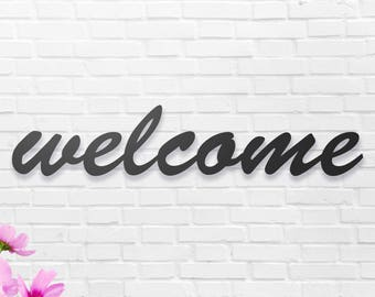 """Welcome Metal Wall Sign Art, Home Decor Gift 17''x4""""  Wood,vein,color options"""