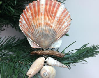 Real Seashell Wire Wrapped Christmas Ornament #3002