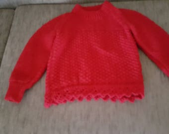 Jumper, Red, Children, Hand Made, Hand Crafted