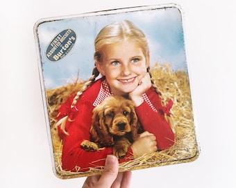 Vintage Burtons Girl & Dog Biscuit Tin - kitchenalia - 1960s - Cocker Spaniel puppy - england #0258