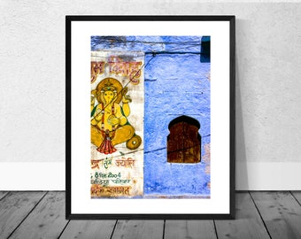 Indian Art Print, India Photography, Ganesh, Blue Wall, Colour Photography, Home Décor, Architecture Photography