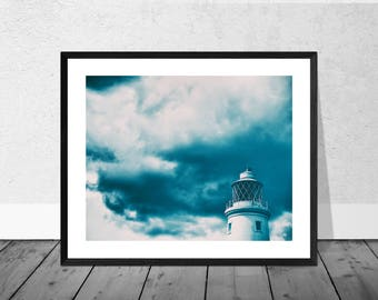 Lighthouse Art Print, Lighthouse Photography, Art Photography, Beach Art, Seaside Art, Grainy, Home Decor, Cyanotype, Southwold
