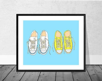 Sneakers Art Print, Trainer Art, Sneaker Art, Home Decor, Quirky Art Print, Illustration, Wallart, Decor, Interiors, Fashion Print