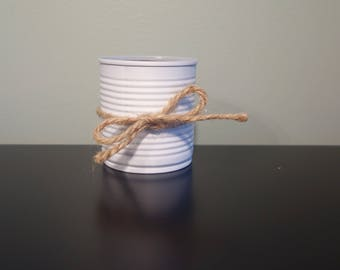 Small white tin can with twine, upcycled