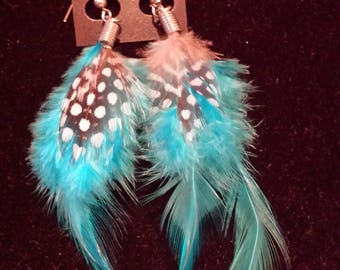 Blue feathered earrings