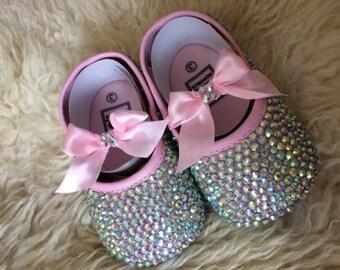 Pink Custom Rhinestone Baby Shoes