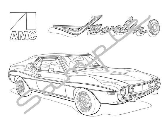 1971 amc javelin amx adult coloring page printable coloring page coloring page for