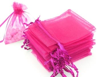 50 Hot Pink Organza Bags - 4x6 Inch Sheer Fabric Wedding Favor Bags With Drawstring - Sheer Jewelry Bags - Ships Within 24 Hours