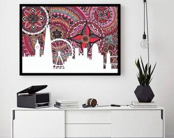 London Poster, Skyline, Big Ben, Digital Illustration, City Illustration, England, Mandala, Zentangle, Doodle, London City, Print, Drawing