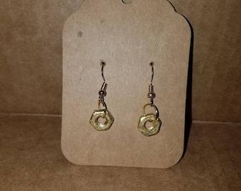 Golden Glitter Nut Earrings