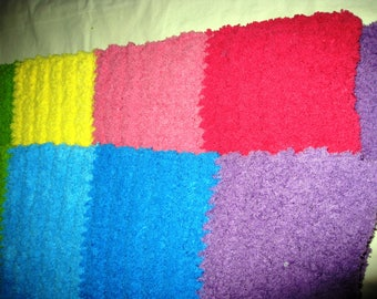 Crocheted Plush. Soft, Fluffy Rainbow Baby Blanket/Lapghan