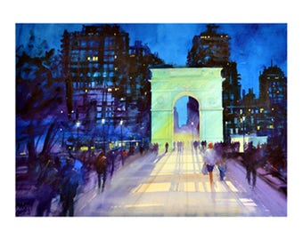 Washington Square N.Y. Limited Edition Giclee print Signed and numbered by the artist Martin Oates. *Buy two get one free*
