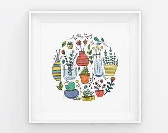 Pot Plants: Bright / 180mm x 180mm Digital Art Print / Home