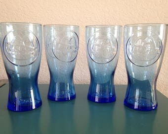 4 Vintage blue 1961 McDonald glasses