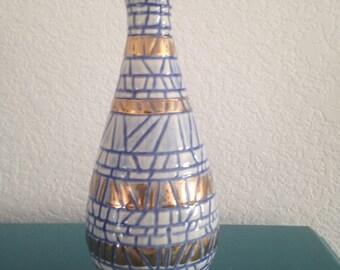 """Gorgeous 9 1/2"""" blue and gold glazed vase"""