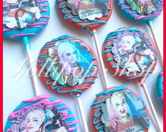 12 Harley Quinn chocolate lollipops (Birthday, suicide squad party favors, harley quinn party favors, joker)