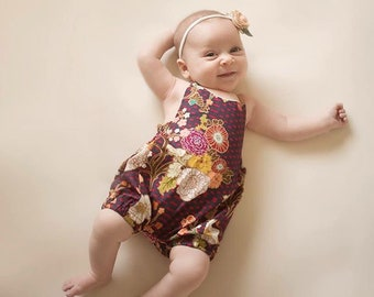 Boho Floral Baby Romper // Girls Romper // Spring Baby Clothes // Birthday Outfit // Toddler Romper // Halter Romper  // Bubble Romper