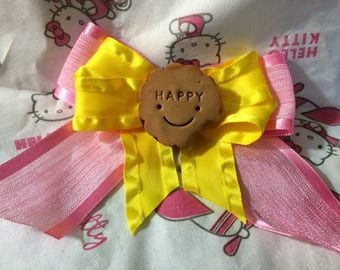 Little Miss Pink and Yellow Cookie Hair Clip