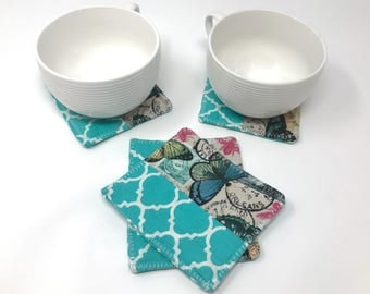 Butterfly Fabric Coasters   Coaster Set   New Home Gift   New Job Gift for Her   New Job Office Gift   Cubicle Décor   Dorm Decorations