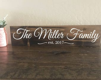 Family Established Sign, Custom Name Sign, Family Name Sign