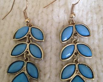 Light Blue Leaf Earrings